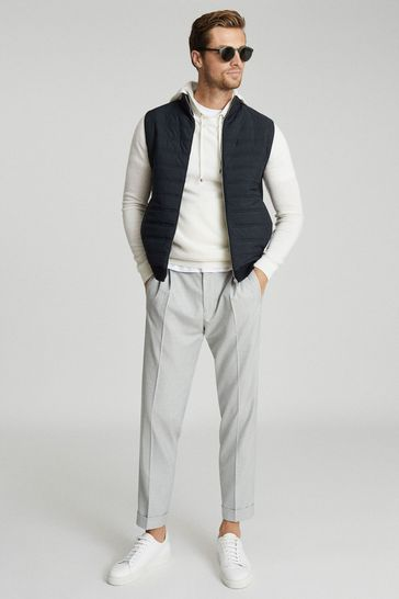 Reiss Navy William Quilted Gilet