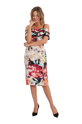 Gina Bacconi Red Amber Floral Scuba Dress