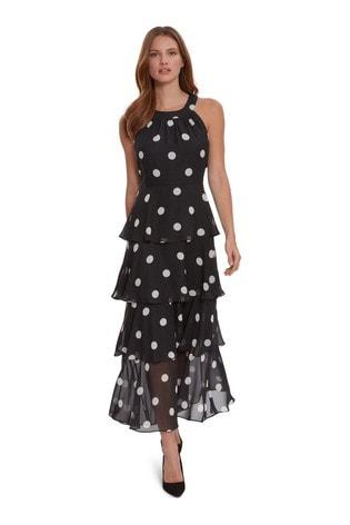 Gina Bacconi Black Kim Tiered Spot Dress