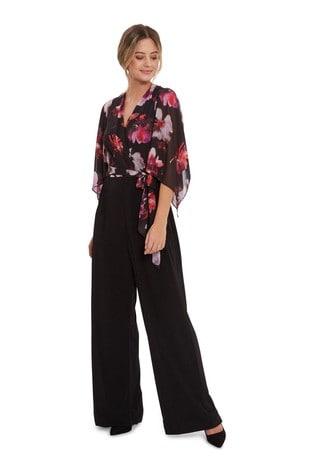 Gina Bacconi Black Chloe Floral Top Jumpsuit