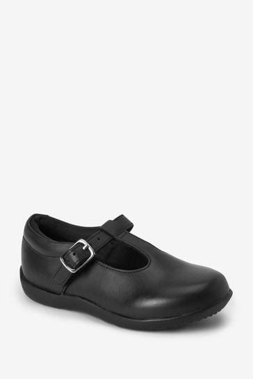 Black Standard Fit (F) Junior Leather T-Bar Shoes