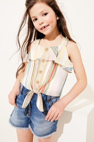 Rainbow Stripe Tie Front Blouse Cotton Co-Ord (3-16yrs)