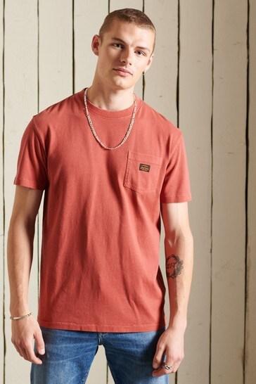 Superdry Brown Organic Cotton Vintage Workwear Pocket T-Shirt