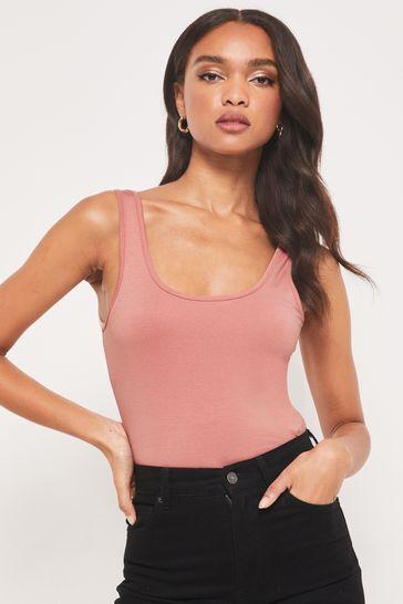 Lipsy Pink Regular Long Line Vest Top