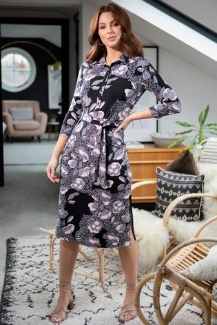 Pour Moi Mono Floral Slinky Jersey Midi Shirt Dress