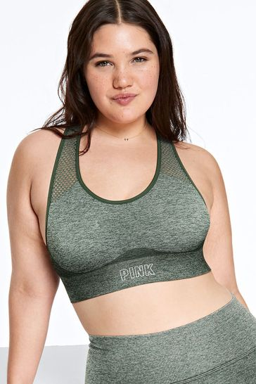 Victoria's Secret PINK Enchanted Forest Seamless Lightly Lined Gym Racerback Sports Bra