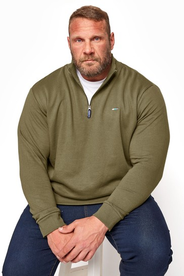 BadRhino Khaki Quarter Zip Essential Sweatshirt