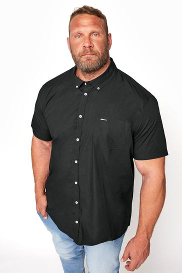 BadRhino Black Cotton Poplin Short Sleeve Shirt