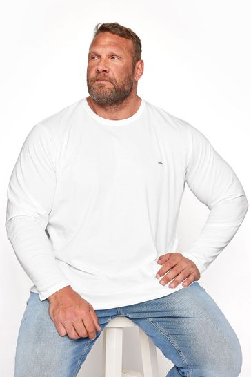 BadRhino White Plain Long Sleeve T-Shirt