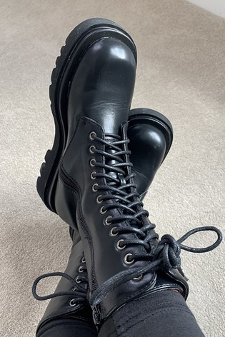 Girls On Film Black Chunky Lace Up Boots
