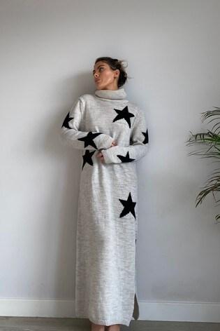 Little Mistress Pink Star Print High Neck Jumper Dress