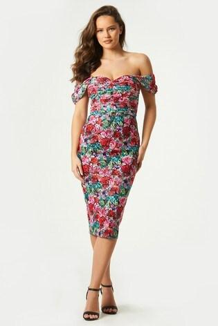 Little Mistress Black Alora Floral Print Lace Midi Dress