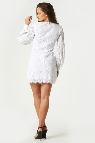 Little Mistress White Fable Lace Shift Dress