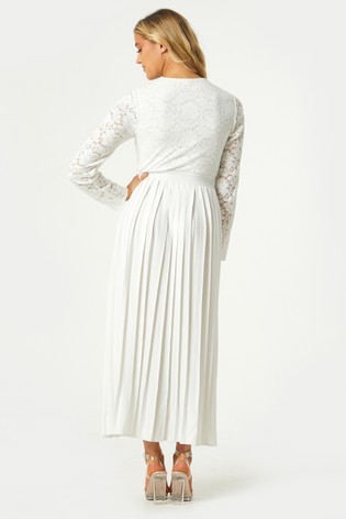 Little Mistress White Fable Lace Pleated Midaxi Dress