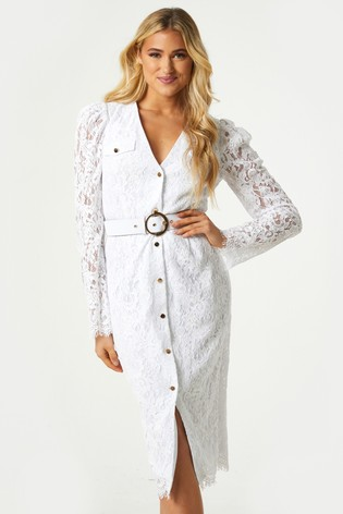 Little Mistress White Fable Lace Belted Shirt Dress
