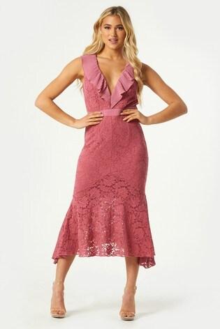 Little Mistress Pink Clarice Lace Frill Midaxi Dress
