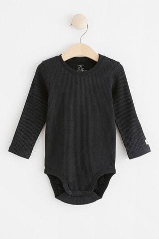 Lindex Black Baby Long Sleeved Bodysuit