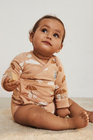 Lindex Brown Rabbit Baby Wrap-Over Bodysuit