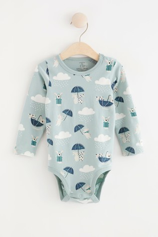 Lindex Blue Rabbit Baby Long Sleeved Bodysuit
