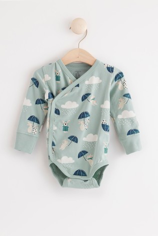 Lindex Blue Rabbit Baby Wrap-Over Bodysuit
