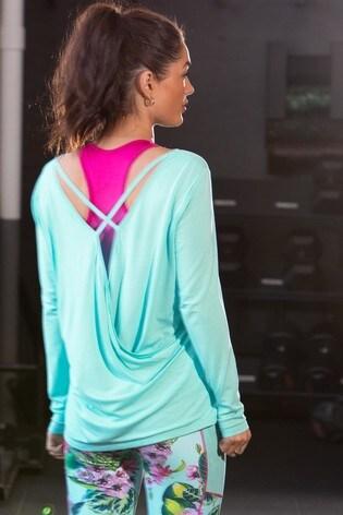 Pour Moi Blue Cross Back Jersey Yoga Top