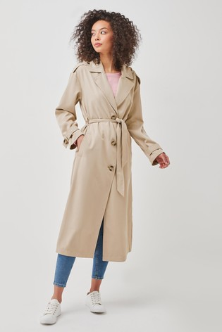 Only Neutral Wrap Front Trench Coat