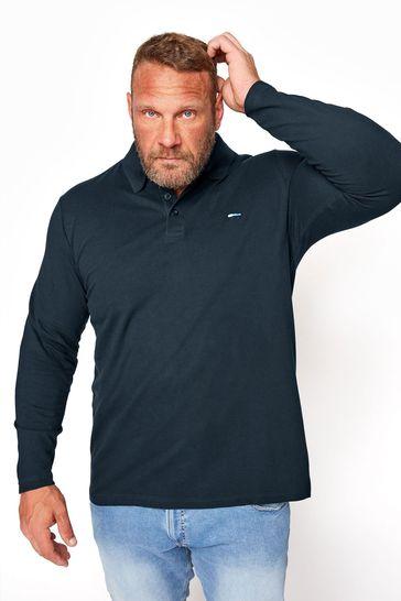 BadRhino Navy Essential Long Sleeve Polo Shirt