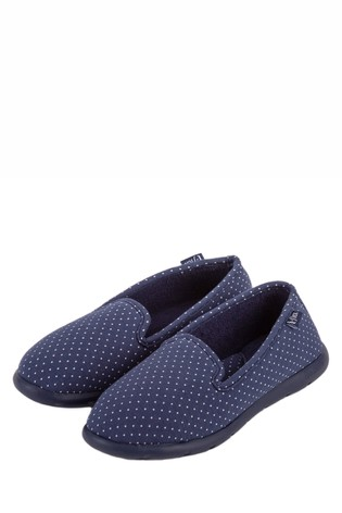 Totes Blue Ladies IFlex Spotted Fully Backed Slippers