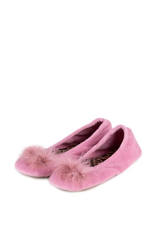 Totes Pink Ladies Ballerina Slipper
