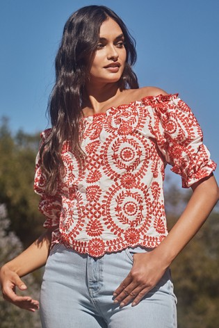 Lipsy Red Broderie Up Down Bardot