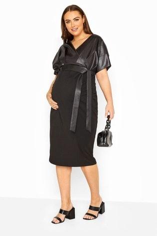 Bump It Up Black Maternity Contrast Wrap Dress