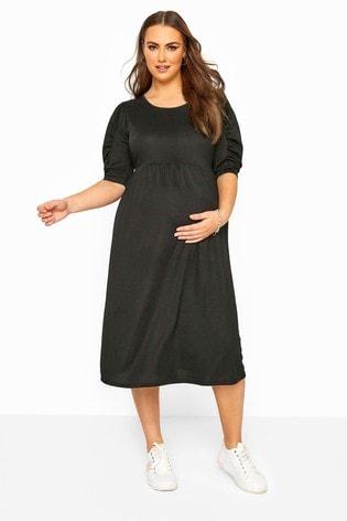 Bump It Up Black Maternity Scuba Jersey Smock Midi Dress