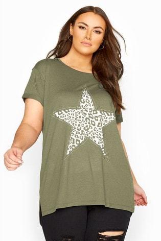 Yours Khaki Animal Print Star Studded Top