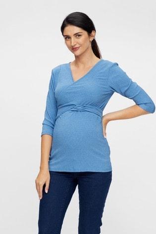 Mamalicious Blue Maternity Nursing Wrap Jersey Top