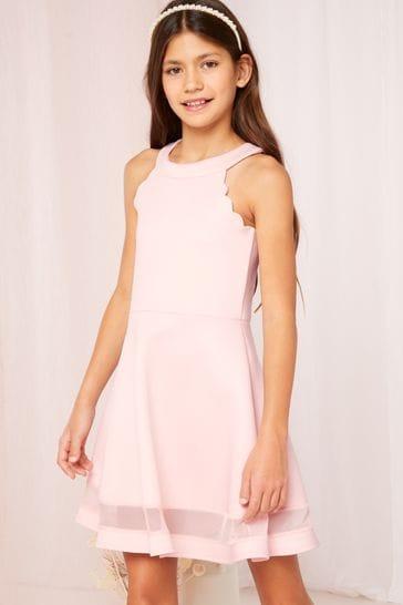Lipsy Pink Hi Neck Scallop Scuba Dress