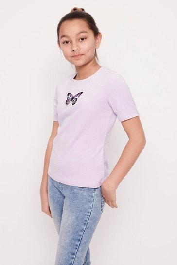 Lindex Purple Velour Butterfly Motif T-Shirt