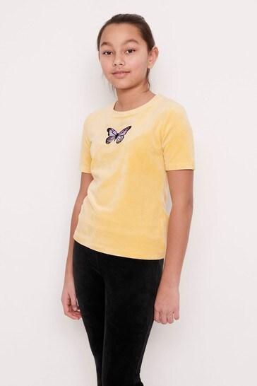 Lindex Yellow Velour Butterfly Motif T-Shirt