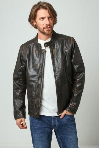 Joe Browns Brown Racer Leather Jacket