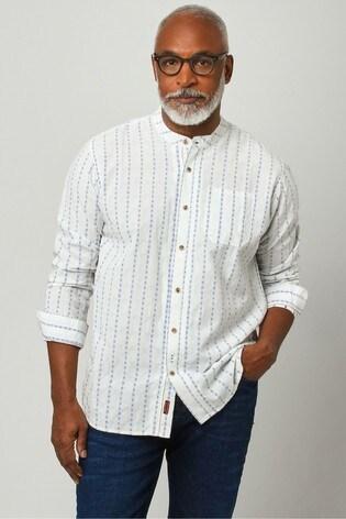 Joe Browns White Blue Stripe Grandad Shirt
