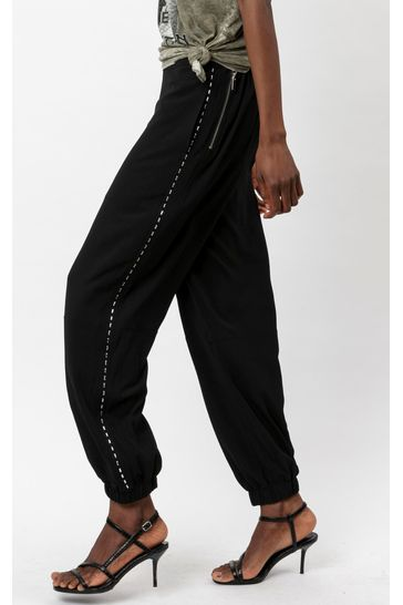 Religion Black Utility Style Trouser With Stud Detailing