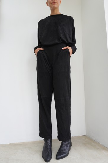 Religion Black Suedette Lounge Trouser With Waistband Details