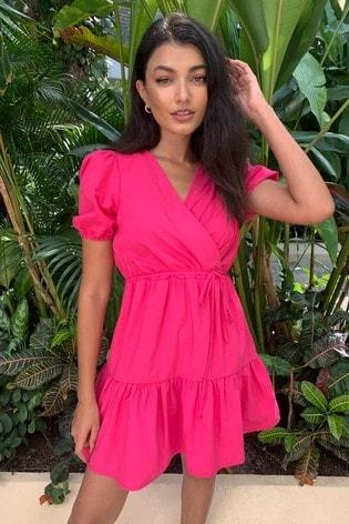 Lipsy Pink Tier Wrap Dress