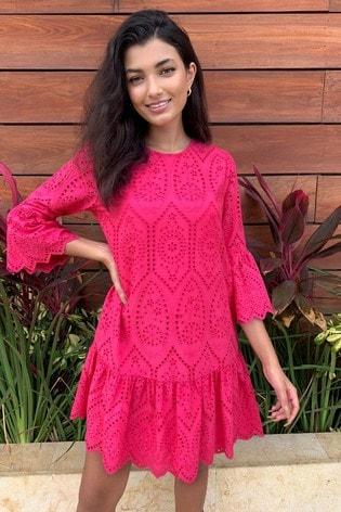 Lipsy Pink Broderie Flute Sleeve Shift Dress