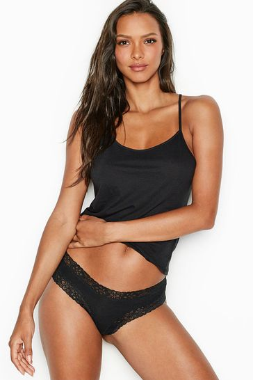 Victoria's Secret Ribbed Lace Cheeky Panty