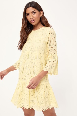 Lipsy Yellow Broderie Flute Sleeve Shift Dress