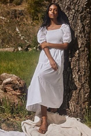 Lipsy White Linen Style Regular Shirred Puff Sleeve Midi Dress