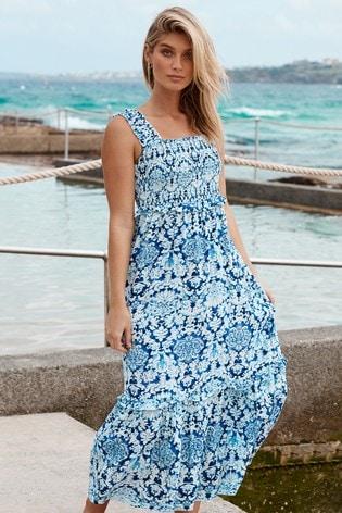 Lipsy Blue Paisley Regular Shirred Strappy Midi Dress