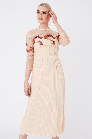 Little Mistress Nude Hana  Floral Embroidered Midaxi Dress