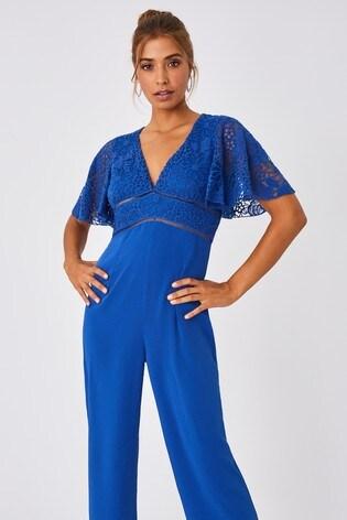 Little Mistress Blue Lela Cerulean Blue Lace Angel Sleeve Jumpsuit