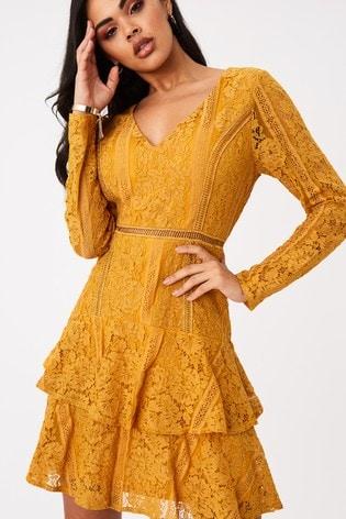 Girls On Film Yellow Sensation Mustard Lace Frill Mini Dress